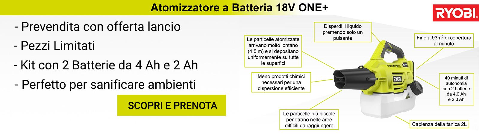 Atomizzatore sanificatore per ambienti - Ryobi RY18FGA a batteria 18V.