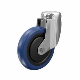 Ruota in Nylon rivestita poliuretano blu. Supporto girevole a foro passante