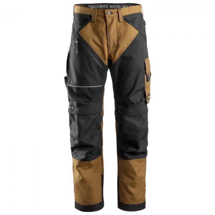 Snickers Workweare pantaloni senza tasche Ruffwork marrone e nero