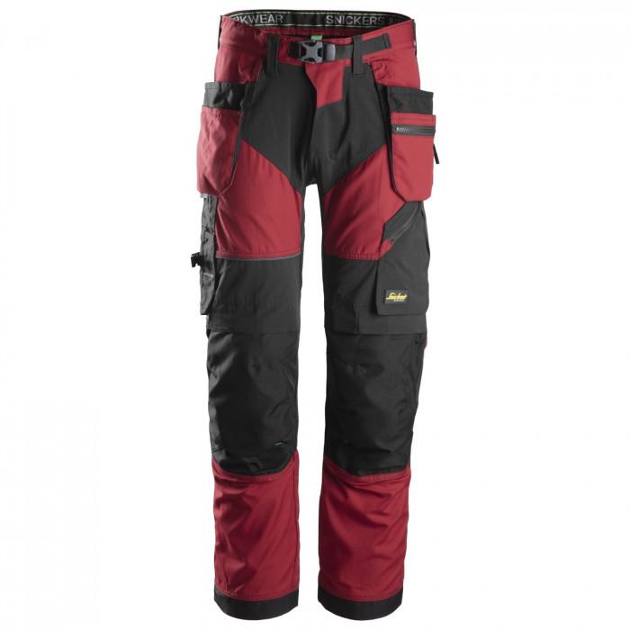 Pantaloni da lavoro con tasche di Snickers Workweare-rosso e nero