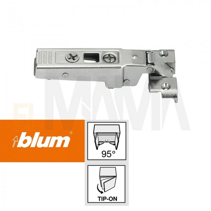 Cerniera per ante con telai stretti in alluminio per uso con sistema tip-on