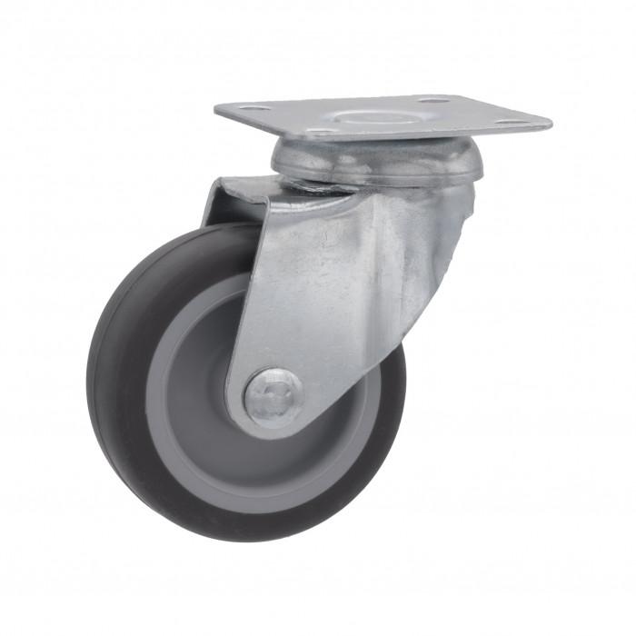 Ruota in gomma su piastra girevole in acciaio zincato