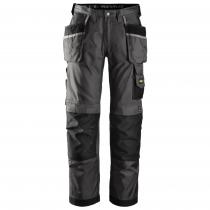 Pantaloni da lavoro con tasche esterne Snickers Duratwill nero e grigio