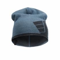 berretto reversibile con logo petrolio e grigio