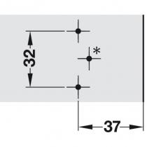 Schema di foratura per fissaggio basetta a croce con eccentrico