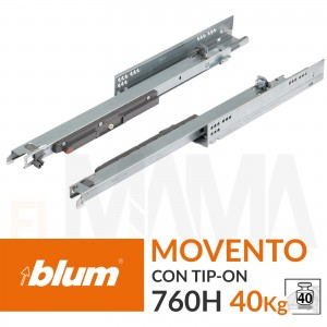 Guide per cassetti con sistema tip-on integrato portata 40kg | Blum