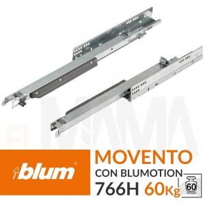 Guide per cassetti pesanti Movento 766H portata 60kg con ammortizzatore Blumotion